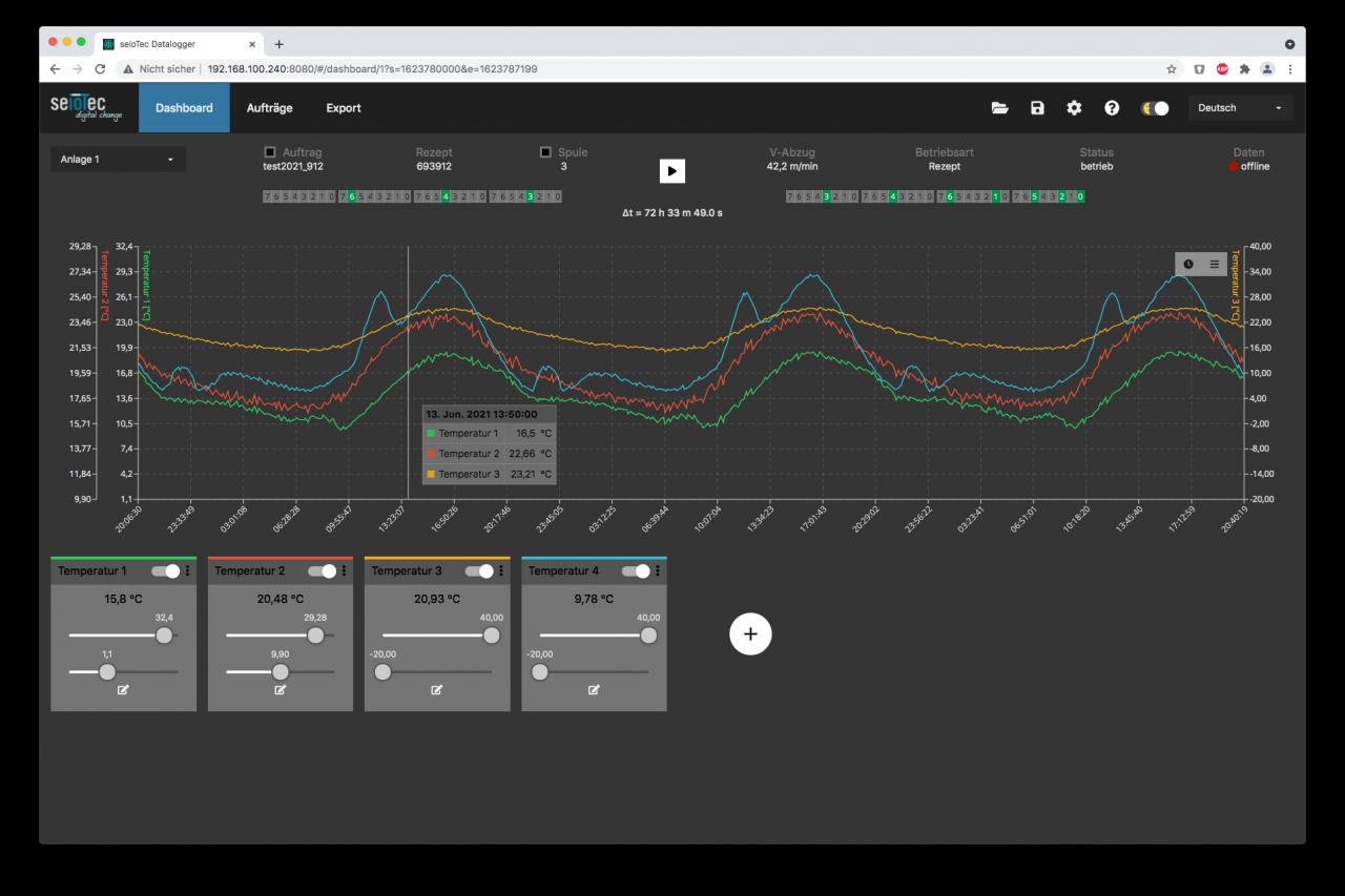 Datenlogger software Darstellung